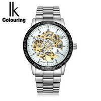Wholesale green colour watches - IK Colouring Religios Masculino Silver Steel Band Golden Skeleton Fancy Blue Glass Automatic Mechanical Wrist watch Relojes Hombr watch