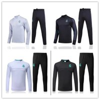 Wholesale Collared Sweater Men - HOT 17 18 Madrid Round collar soccer tracksuit long sleeve Training suit kit 2017 2018 football training clothes sports wear mens Sweater