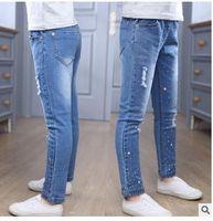 Wholesale Hole Jeans Kids - Children Broken Hole Elastic Waist Pants 2017 Baby Girls Jeans Brand Fashion Spring Autumn Kids Trousers Children Clothing Jeans