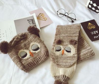 Wholesale Crochet Knit Animal Prop - Baby hat scarf sets winter kids cartoon animal knitted warm scarf shawl toddler cute owl pompon knit ear caps photography props R0658