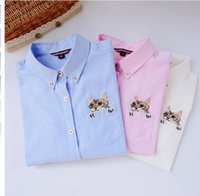 Wholesale Cat Woman Blouse - 2017 Embroidery Print Cat on Pocket Shirts Lady Spring New Fashion White Blue Pink Casual Blouse Shirts Women Long Sleeve Tops