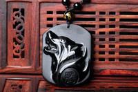 collier de totems de loup achat en gros de-Obsidienne naturelle pendentif totem loup hommes et femmes collier Jinyue pierre bijoux chanceux