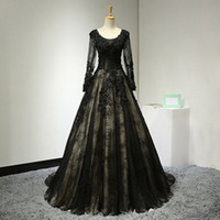 Wholesale Long Sleeve Bandage Dress Backless - 2017 Sexy Black Wedding Dress A-Line Scoop Collar Long Sheer Sleeve Bandage Backless Appliques Beads Pleats Lace Chapel Train Real Pictures
