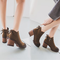 Wholesale Thick British Women - 2017 Autumn boots suede leather shoes waves designer woman ankle short boot thick high heels bow-knot Chelsea boots British style bootas 274