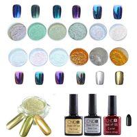 Wholesale Glitter Base Coat - Wholesale-2016 New Designed 1 Set 12 Colors Nail Art Shinning Mirror Glitter Powder Chrome Pigment Black UV Gel Top Base Coat Anne