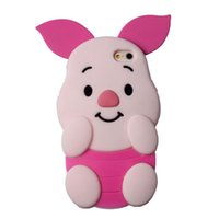 Wholesale Pig Iphone Cover - Pink Pig Design Case 3D Cartoon Piglet Cover For Iphone 7 6 6s Plus Samsung Galaxy S7 S6 Edge ZTE Soft Silicone Case With OPPBAG