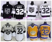 spandex costura al por mayor-Los Ángeles Kings Hockey 32 Jonathan Quick Jerseys Throwback Estadio de la Serie Inicio Negro 3 ª Alternativo Blanco Amarillo Bordado Y Costura Logo