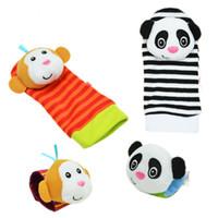 Wholesale Infant Foot Straps - Wholesale- 2pcs pair 2016 New A Pair Baby Infant Toy Soft Handbells Hand Wrist Strap Rattles Animal Socks Foot Finders Developmental Toys