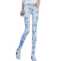 Wholesale Floral Print Skinny Jeans - Wholesale- 2017 New Fashion Women's Mid Waist Floral Print Pencil Jeans Female Slim Elastic Pants Skinny Jeans Students Trousers Pants