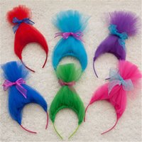 Wholesale Baby Costum - Baby Girls Party Hair Sticks Children Trolls Cosplay Costum Tulle Bow Hair Accessiories Kids Wig Headband
