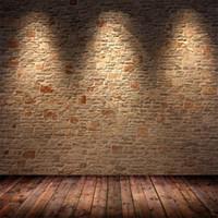 accessoires photographiques en bois achat en gros de-Toile de fond de briques d'intérieur toile de fond avec marron clair plancher en bois