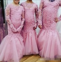 Wholesale Long Pageant Gowns Size 3t - Elegant Hot Pink Lace Mermaid Flower Girl Pageant Dresses Sheer Long Sleeves Lace Appliques Plus Size Formal Evening Dance Party Gowns 2017