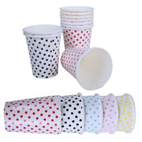 Wholesale Pink Disposable Cups - Wholesale-Paper Cups 10pcs Lot Polka Dots Degradable Disposable of Wedding Kids Birthday Party Decoration Blue Red Pink Yellow
