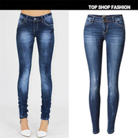 Wholesale 34 Size Breast Women - Wholesale- SKINNY JEANS Woman 2016 New Fashion Ladies Single Breasted Slim Pencil Pants Denim Skinny Jeans Size 34-44