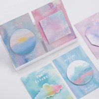 Wholesale Color Sticker Note - 48 Pcs Lot Watercolor Geometric Sticky Notes Color Memo Pad Guestbook Sticker Stationery Office Accessories School Supplies