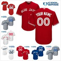 Wholesale Mens Canada - Stitched mens womens youth Toronto Blue Jays Custom Cool Base Gray Road Home White Black Royal Blue Red Canada Baseball Jerseys S,4XL