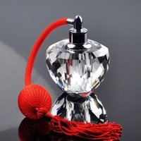 Wholesale Gasbag Perfume Bottles - Wholesale- 10ml Vintage Clear Empty Refillable Crystal Perfume Bottle With Red Gasbag