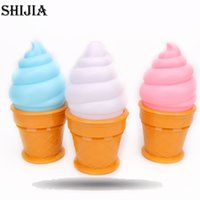 Wholesale Wholesale Novelty Ice Cream Gifts - Wholesale- Novelty Led Night Light Ice Cream Desk Lamp Led Lamp For Kids Children Cone Shaped Table Lamp Lights For Bedroom Birthday Gift