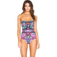Wholesale Swimsuit Strapless - 2017 Hot Summer Women's Sexy One-piece Swimming Suit Flowers Strapless Swimwear Swimsuit Lady's Bathing Suit