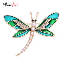 eski eşarp pini toptan satış-Toptan-MlovAcc Moda Simüle Inci Altın Kaplama Vintage Güzel Yeşil Emaye Dragonfly Broş Kadınlar Kristal Eşarp Yaka Pin Broş