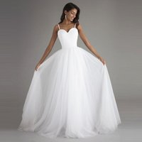 Wholesale Cheaper Plus Size Dresses - 2017 Graceful Simple A Line Wedding Dresses Beach Bridal Custom Spaghetti Straps Sleeveless Tulle Wedding Gowns Robe de Mariage Cheaper