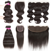 Wholesale Mixed Length Piece - 4x4 Lace Closure with 3 Bundles Brazilian Virgin Body Wave Hair with Lace Frontal Indian Peruvian Straight Unprocessed Human Hair Extensions