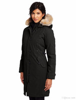 Wholesale Ladies White Satin Jackets - Famous canadians Brand Big Raccoon fur Womens feather Down Jacket Winter Warm kensington parka Ladies Coat -40 degree