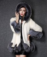 Wholesale High Imitation Fur Coat Women Silver Fox Fur Collar Hooded Mink Fur Coat Medium long Overcoat Plus Size S XL Winter Coat