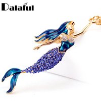 Wholesale Lock Key Purse - beijia Mermaid Sea-maid Key Chains Rings Holder Enamel Crystal Purse Bag Buckle Pendant For Car Keyrings KeyChains K270