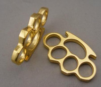 Wholesale titanium plate camp - 2pcs GILDED 13mm STEEL BRASS KNUCKLE DUSTER Gold plating silver self defense tool brass knuckle clutch