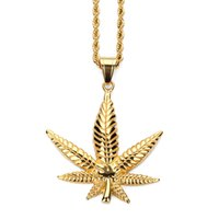 Wholesale snake jade pendant - Fashion Charms Maple Leaf Pendant Necklaces Gold Plated Stainless Steel Personalized Design Filling Pieces Mens Womens Hip Hop Jewelry Gift