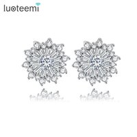 Wholesale Aretes Zirconia - LUOTEEMI Brincos Pendientes for Women Aretes Crystal Fashion Stud Earings Oorbellen Orecchini Round Flower Gold-Color Jewelry