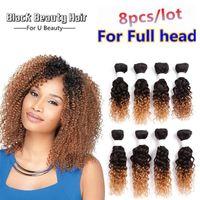 Wholesale kinky curl hair ombre online - Kadoyee Brazilian Human Virgin Hair Extension Kinky Jerry Curl Hair Weave Bundles Black b Bug b Ombre Color Curly Weave Hair Bundles