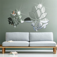Wholesale Sticker Lotus - Acrylic 3D DIY Mirror Surface wall sticker of Lotus Flowers for bedroom decorative wall decals murals vinilo pegatinas de pared JM074