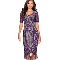 Wholesale Hemline Lengths - omen's Clothing Dresses Women Summer Vintage Elagant Ladylike Fringe Tassel Hemline Graphic Flower Lace Pattern Short Sleeve Sheath Bodyc...