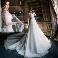 Wholesale Stylish Bridal Dresses - Luxury Pearls Beading Wedding Gowns Sheer Boat Neck Sequins Long Sleeve Organza Bridal Dresses 2017 Latest Stylish A-Line Wedding Dresses