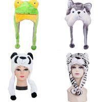 Wholesale Scarfs For Women Hood - Wholesale-Cartoon Gorro Panda Tiger Children Kids Adult Winter Warm Soft Plush Hood Earmuff Scarf Hat Cap Casquette Femme For Women