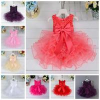 vestidos de fiesta al por mayor-Bebés recién nacidos vestido de princesa faldas tutú de vacaciones de bebé con un gran lazo para bebés y niños pequeños vestido de bola de perlas