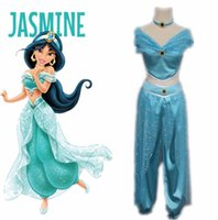 Wholesale Costume Theatre - Drop Shipping Movie Aladdin Jasmine Princess Adult Kids Belly Dancer Costume of Theatre Cosplay Costume Party Dress