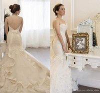 Wholesale Tulle Skirt Price - 2016 Vintage Lace Ruchecd Frills Mermaid Wedding Dresses Backless Chapel Train Appliques Ribbon Bowknot Cheap Price Sweep TrainBridal Gowns