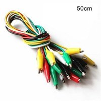 Wholesale Wiring Test Probes - Wholesale- Top quality Top Quality 10Pcs lot 50CM Double-ended Test Alligator Crocodile Clip Jumper Cable Probe Leads Wires