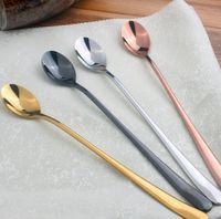 "Wholesale Gold Tea Spoons - WholeSale 100pcs lot 9"" 22.3*2.8cm 40grams STAINLESS STEEL LONG LATTE TEA COFFEE ICE CREAM DESSERT SUNDAE SUNDAY SPOONS"