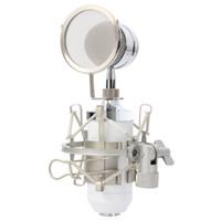 condensador de grabación al por mayor-BM8000 Profesional Sonido Estudio de grabación Condensador Micrófono con cable 3.5mm Enchufe Soporte Holder Pop Filter para KTV Karaoke