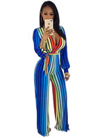 Wholesale Colorful Rompers - Fashion Colorful Striped Loose Jumpsuit Sexy Deep V Full Sleeve Playsuits Women Print Wide Leg Long Jumpsuit Night Club Rompers Overalls