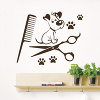 Wholesale salon decals - Dog Wall Stickers WALL DECALS PET GROOMING SALON DOG SCISSORS SHOP COMB VINYL STICKER DECOR Pet shop Home Decor Wallpaper