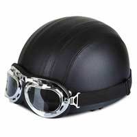 Halley Motorradhelme Echtes Leder Covered Half Face Helm Vintage Casco + MX Goggles