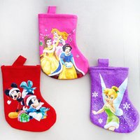 Wholesale Tinker Bell Free Shipping - 20Pcs Free Shipping 17.5Cm Felt Princess ,Tinker Bell ,Mickey Mouse Cartoon Christmas Stocking Sock Children Christmas Gift Bag