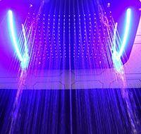 cortinas de cachoeira venda por atacado-Chuveiro embutido torneiras SUS304 teto embutido LED cabeça de chuveiro 420 * 710mm com cascata de chuva névoa