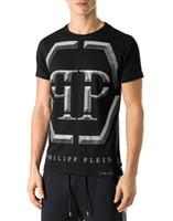 Wholesale Skull Shirts Mens - Wholesale New Tide Brand Mens Short Fit Slim Casual Tee Print SKulls Rhinestone desinger Tiger MENS T-shirts Cotton Top quality P18241-6