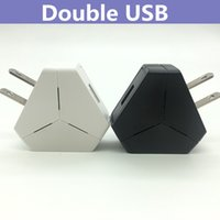 Wholesale Mp4 Dock Charger - Dual 2 USB Double Ports Wall Dock Charger US Plug 5V 2.1A Power Charging Adapter Triangle Shape For iPhone Samsung Galaxy Cellphone Mp3 Mp4